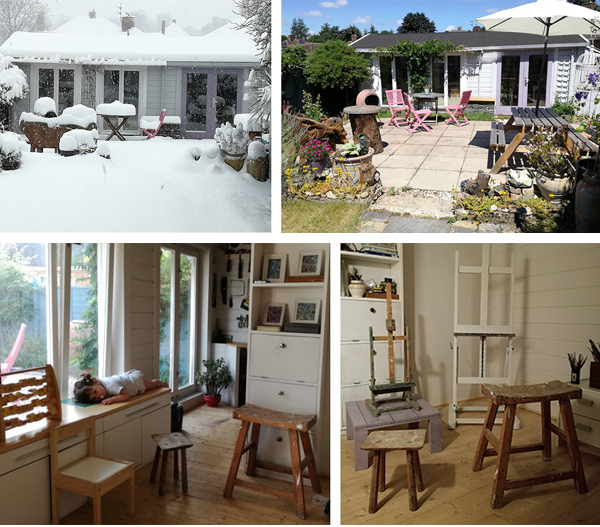 An artist's studio, atmospheric interior photos and exterior views in both the sun and the snow